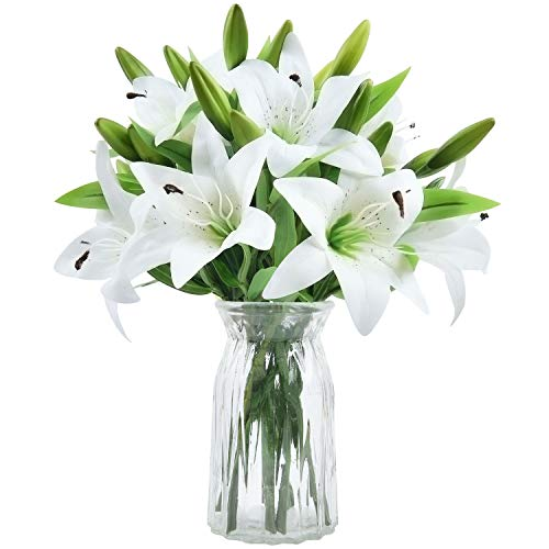 MARTINE MALL 8Pcs Artificial Tiger Lily Bouquet Latex Lilies Flower Bouquet with Rods for Home, Table, Wedding, Banquet Decor, White