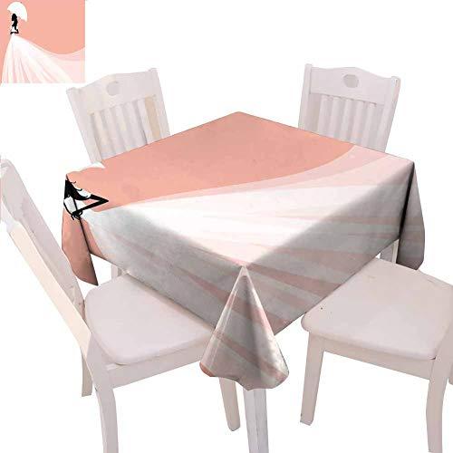 Quadratische Tischdecke für Brautpartys, bedruckt mit abstraktem Brautkleid, romantisches Hochzeitskleid mit Regenschirm, einfach zu reinigen, 127 x 127 cm, Lachs und Weiß