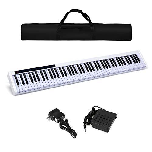 New Moccha 88-key Electric Keyboard, Portable Digital Piano w/Dynamic Adjustment, Bluetooth Function, MIDI/USB Interface, External Speaker, Sustain Pedal, 128 Rhythm & 128 Tone, Power Supply (White)