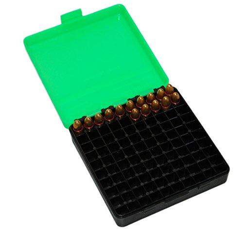 9 mm Patronenbox /.380 Auto Ammo Box für 100 Patronen Patronen Box für Wiederlader ... (Grün)