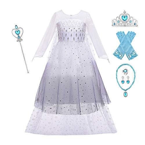 O.AMBW Vestido para niñas de 2 a 10 años con Capa Larga Desmontable y Falda Blanca Negra Disfraz de Frozen Disfraz de Princesa Cosplay con 6 Juegos de Accesorios Fiesta de Halloween