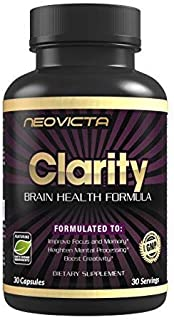 Brain Supplement Nootropic - Mind & Energy Booster - Improve Focus, Memory & Mood - CLARITY - DMAE, Bacopa Monnieri, Huperzine A & More - For Superior Brain Function - 30 Servings