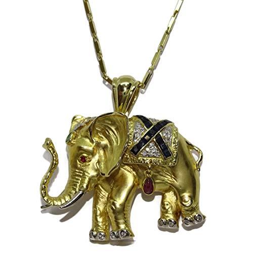 Never Say Never Collana con elefante in oro giallo 18 k con 0,32 ct di diamanti, 0,52 ct di zaffiro, 0,18 ct di rubini e uno smeraldo da 0,10 ct. Peso: 32,59 g di oro di 1a sterling.