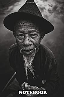Notebook: Portrait Of Old Beard Fisherman In Monochrome , Journal for Writing, College Ruled Size 6