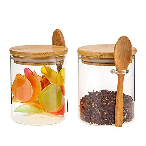450ml Vaso Da Cucina In Vetro Con Coperchio In Legno Scatola Del Tè O Contenitore Per Caffè In Grani Dosatori Ed Erogatori Per Condimenti 450ML