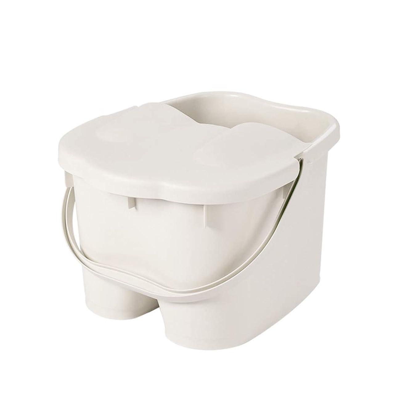 鳴らすほのめかす振幅フットバスバレル- ?AMTポータブルマッサージ浴槽プラスチック足湯バケツ付き蓋保温足風呂盆地大人スパボウル世帯 Relax foot (色 : 白, サイズ さいず : 26.5*29.5*23cm)