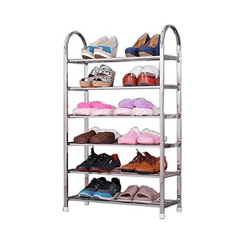 CAIJINJIN Rack de zapatos Bastidores del zapato 6 Nivel de malla metálica estantes estante del zapato, estante plegable de almacenamiento de combinación simple de acero inoxidable multi-capa de zapate