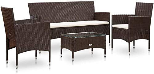 4 Garden Sofa, Garden Lounge Chairs, Garden Furniture Combined, Rectangular Tables 3 2-Seater Bench Outdoor Garden armchairs,Brown