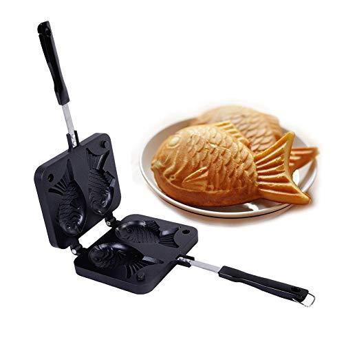 Gofrera doble para gofres, pescado, molde para tartas, pancakes, antiadherente, aluminio