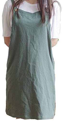 Verstellbare Küchenschürze im japanischen Stil, Baumwollleinen mit 2 Taschen Pinafore Schürze für Damen Chef Kellnerin Friseurin passt für Grill, Lack und Kreuz-Rücken-H Schulterriemen Grün