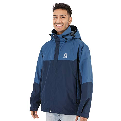 Gonex Rain Jacket for Men, Reinforced Waterproof & Wind Resistant Coat with Removable Adjustable Hood, 5 Pockets Lightweight Outdoor Windbreaker Coat, Great for Camping Cycling Hiking Running, Blue L