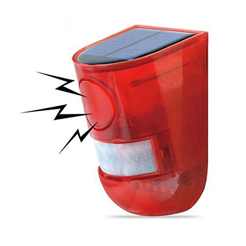 Aolyty Solar Motion Sensor Detector Siren Sound Alarm LED Warning Strobe Flashing Red Light Security Outdoor Waterproof Device Keep Animal Away for Home Warehouse Farm (Red Lampshade)