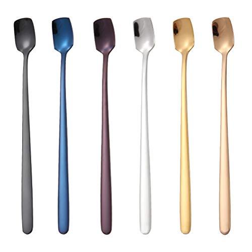 BESTonZON 6pcs 6pcs Cucchiaio per mescolare in Acciaio Inox con Manico Lungo a Forma di Quadrata da Cucina