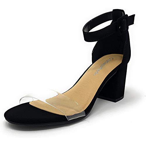 City Classified Amuse Clear Transparent Toe Strap Ankle Buckle Heeled Sandal 2.5in (Black Nb, 7.5)