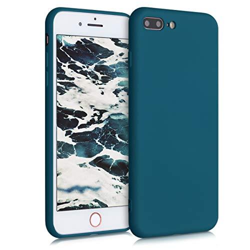 kwmobile Cover compatibile con Apple iPhone 7 Plus / 8 Plus - Custodia in Silicone Effetto Gommato - Back Case Protezione Cellulare - petrolio matt