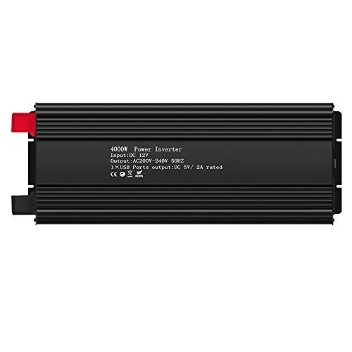SSCYHT Solar-Wechselrichter, 3000W/3500W/4000W Dauerleistung, 12V/24V DC bis 220V AC 50Hz, Reiner Sinuswellenwandler mit LCD-Display, für Netzferne Solaranlage,4000w,DC 12V