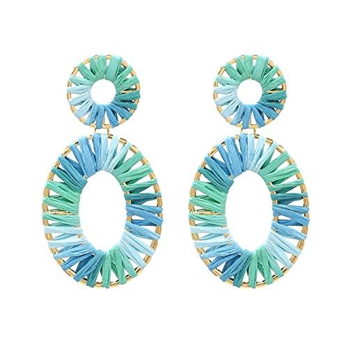 HMMJ Pendientes de botón para Mujer, Pendientes Colgantes de Rafia de Ensalada de gradiente Hueco Tejido a Mano Joyería de Piercings (Color : Light Blue+Light Green)