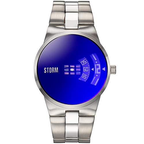 STORM London New Remi Lazer Blue, Herrenuhr, 5 bar Wasserdicht, rotierende Scheiben als Uhrzeiger, Mineralglas, Edelstahlgehäuse, 47210/B