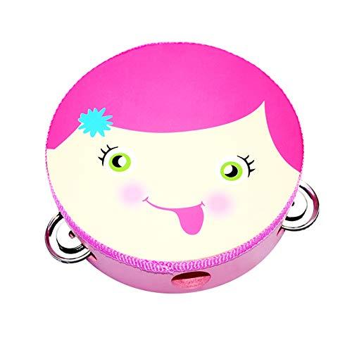 WFF Spielzeug Tambourine for 3+ Jahre alte Kinder Hand Drum Glocke Percussion Geschenk, Musikbildungsinstrument for die Partei (15cm / 5.9in) (Color : Girl face)