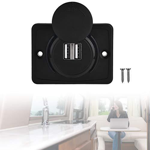 3.1A USB Cargador de Coche Enchufe, Cargador Doble USB 12V LED Impermeable para Coche Barco Marina