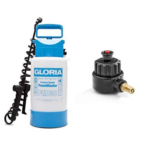 GLORIA Schaumsprühgerät FoamMaster FM 30, weiß & Überdruckventil mit Kompressoranschluss für alle 5-8 L Kunststoffgeräte