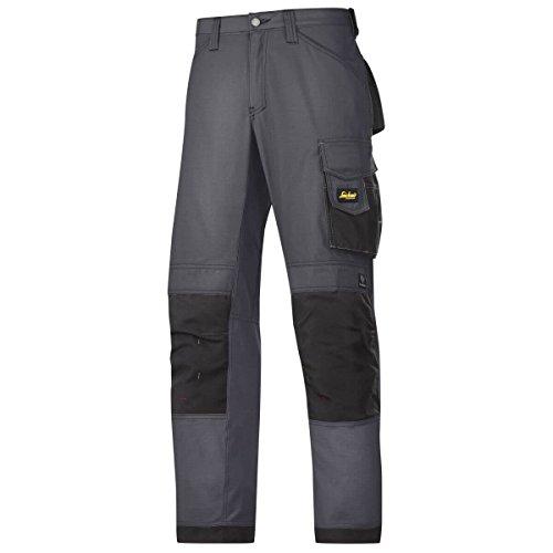 Snickers Handwerkerhose Rip-Stop Schwarz | Grau | Blau | TwistedLeg-Design | Kniepolstertaschen | Cordura-Verstärkung | Viele Taschen Top Qualität Top Preis (54, Stahlgrau/Schwarz)