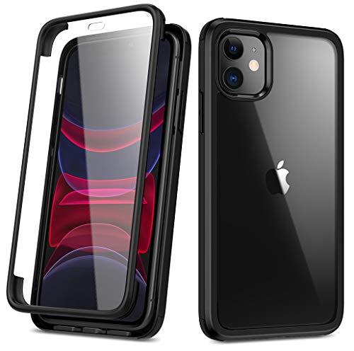 RuiPower Kompatibel mit iPhone 11 Hülle 6.1\'\' Glas Panzerglasfolie Transparent Handyhülle und Rückseite Panzerglas Back Cover 360 Grad Full Body Case Schutzhülle mit Silikon Bumper - Schwarz