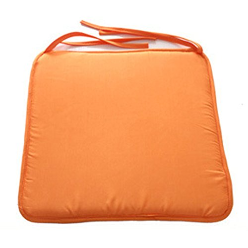 SIMPVALE 4er-Set Stuhlkissen - Sitzkissen für Stühle mit Befestigungen - für Gartenküche Drinnen draußen - 40x40x1cm - Orange