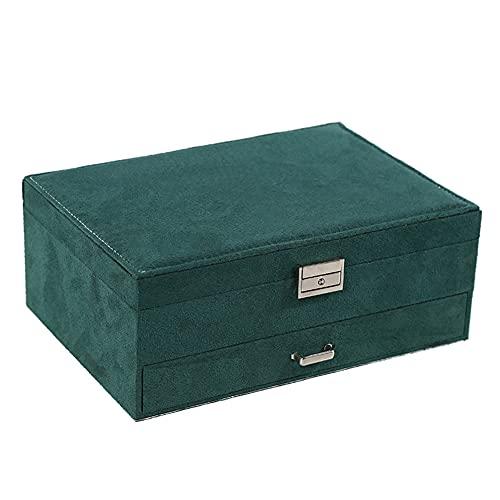 Caja de Relojes Estuche para Relojes Caja para relojes Joyero de diseño de doble capa, caja de almacenamiento de joyería de reloj con cojín extraíble (verde)