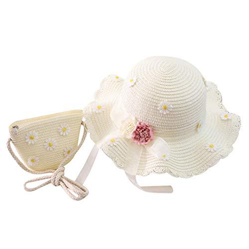 VALICLUD Sombrero de Cubo de Paja de Margarita con Bolso de Hombro Cruzado Tejido para Niños Pequeños Niñas Plegables Pesca de ala Grande Gorra de Pesca Loppy