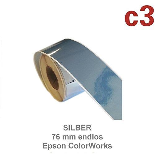 Printbox - Etiquetas adhesivas para Epson Colorworks C3500 (76 mm), color plateado