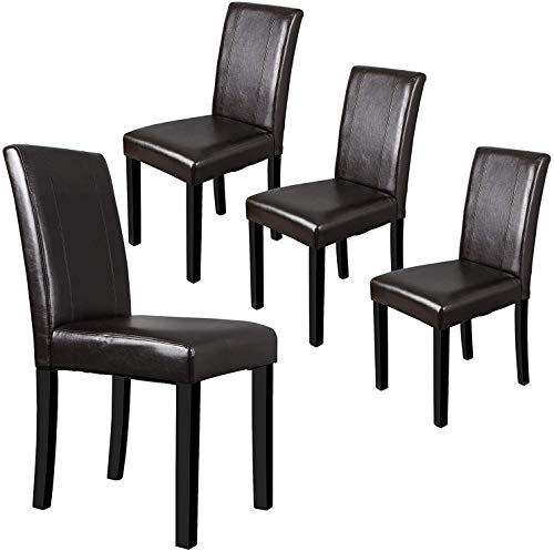 ZENY Leather Dining Chairs with Solid Wood Legs Chair Urban Style, Set of 4