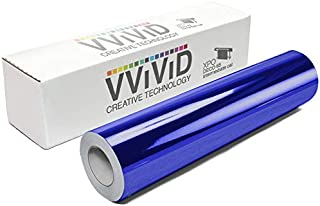 VViViD Chrome Blue Gloss DECO65 Permanent Adhesive Craft Vinyl Roll for Cricut, Silhouette & Cameo (7ft x 1ft Roll)