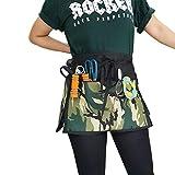 Chic Short Half Aprons Camouflage Printed Waist Waitress Server with 3 Zipper Pockets Design for Barista, Chef work, kitchen dress, Vendors Holding Money Smartphone