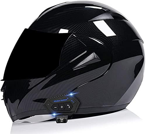 XWW Casco Integral para Motocicleta, ciclomotor para Motocicleta, Casco abatible de Carreras de Bicicletas de Calle con Visera Solar, Espacio para Bluetooth para Adultos, jóvenes, Hombres y muje