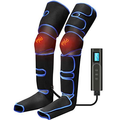 Beine Massagegerät Fußmassagegerät Elektrisch mit 6 Modi 3 Intensität Kompressionsmassage,USB-Aufladung Kabellos mit Heizfunktion für Füße, Waden, Oberschenkel