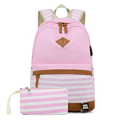 misognare Meisjes Canvas School Rugzak met USB Opladen Poort Casual Streep Rugzak voor Tiener Jongens, roze, 18 inch…