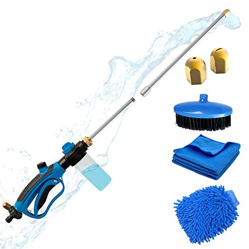 Hydro Jet Hose Pressure Washer Wand for Garden Hose- Portable Pressure Water Gun, Car Wash Sprayer with Soap Dispenser, Power Wash Nozzle Hose Attachment with Car Wash Brush