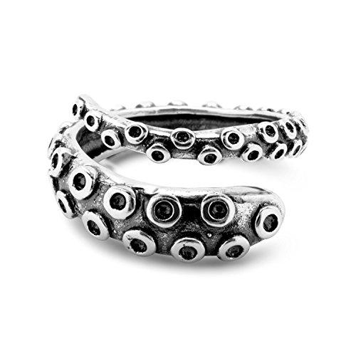 Serebra Jewelry Polpo Tentacolo Anello Misura Regolabile | argento sterling 925 | regolabile e 4 colori | Donna Uomo Unisex (Antico)