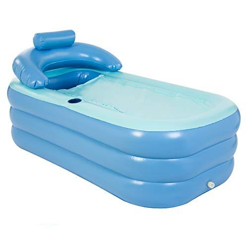 CO-Z Aufblasbare Badewanne Erwachsene Faltbare Spa-Badewanne PVC Aufblasbarer Pool Rechteckig mit Nackenkissen Tragbare Warm Badewanne für Camping Reisen Spa (PVC-mit Fußluftpumpe)