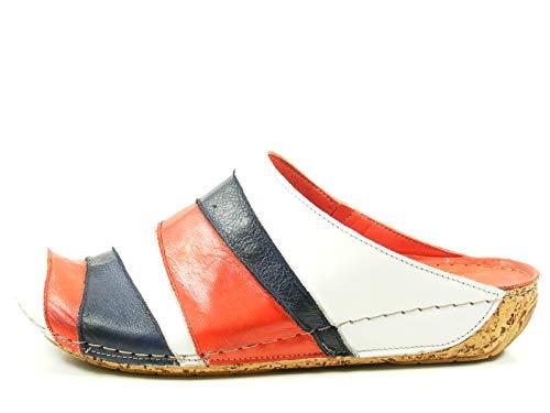 Gemini 32091-02 Schuhe Damen Pantoletten Clogs Sabot Leder, Schuhgröße:40;Farbe:Blau