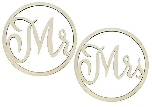 Holzbuchstaben Mr und Mrs in Ringen, zum Aufhängen, 2 Stück, 42 cm, Holzdekoration für Hochzeiten, Hochzeitsdeko, Hochzeitssaal, für das Hochzeitspaar, das Heiratspaar, die Heirat, Heiratsringe