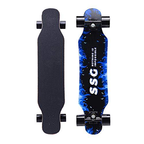 31-Zoll-Longboard-Street-Skateboard-Deck, EIN Mini-Longboard für Kinder, Jugendliche und Erwachsene (YX-Q)-Blaue Flamme_