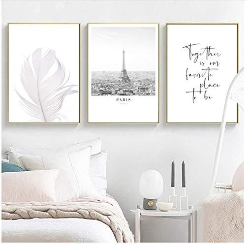 MULMF Decoratie Boven Het Bed Muur Kunst Canvas Schilderij Liefde Parijs Zwart Wit Posters en Prints Muurfoto's Home Decor- 50X70Cmx3 Geen Frame
