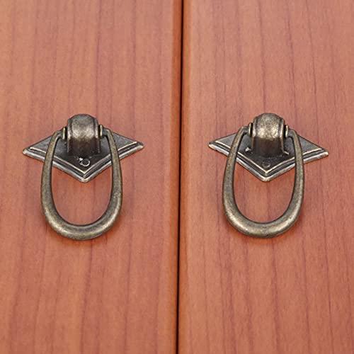 2Pcs Maniglia ad Anello Vintage e pomello Maniglia per Porta mobili Maniglia per cassettiera in Lega di Zinco Europea Manopole 30 * 40mm
