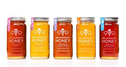 Bee Harmony Honey 5 Pack Variety Pack, 60 Ounce (Clover, Wildflower, Orange...