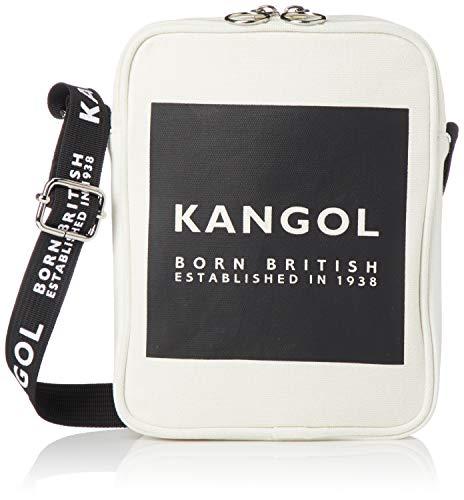 [カンゴール] ショルダーバッグ KANGOLロゴプリントベルト 厚手キャンバス ポシェット ダブルフェイス ホワイト