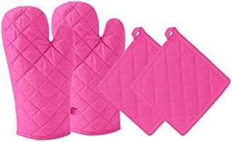 DM COOL COTTON - Oven Mitts Gloves - 100% Cotton - Heat Resistance - Quilted with 3.5 Layers of Cotton (2 Oven Gloves 2...