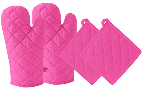DM COOL COTTON - Oven Gloves Set (Red) (2 Oven Gloves) (Heat...