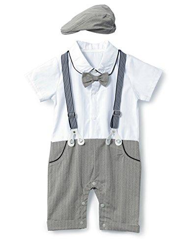 HMD Baby Boy Gentleman White Shirt Bowtie Tuxedo Onesie Jumpsuit Overall Romper(0-18M) … (A Grey, 60(0-3 Month))
